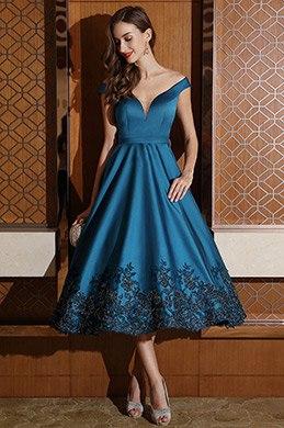 eDressit Designer Wadelang Blau Schulterfrei Party Kleid (04170905)