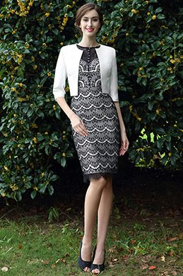 eDressit Black & White Two Pieces Mother of the Bride Dress (26170900)