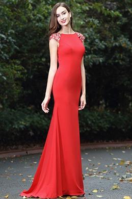 eDressit Lang Meerjungfrau Linie Rot Perlen Abendkleid(00170102)