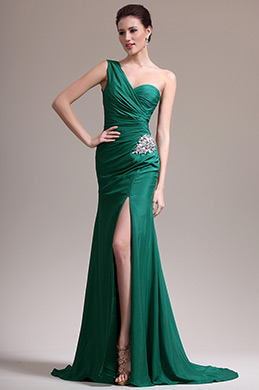 eDressit Green One Shoulder High Slit Evening Dress (07157104)