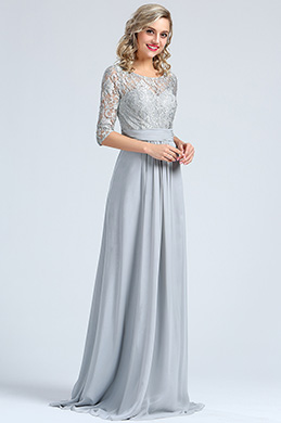 Edressit Long Sleeves Grey Embroidery Lace Prom Gown 36173208
