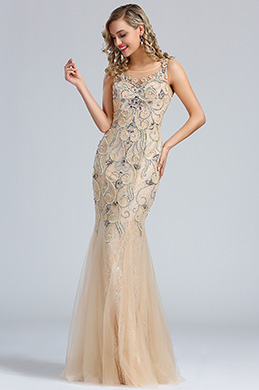 eDressit Sleeveless Beige Beaded Mermaid Prom Dress (36174014)