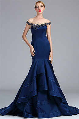 edressit navy blue beaded lace prom dress for women