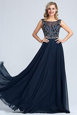 eDressit A Linie Ärmellos Blau Perlen Abendkleid (36173005)