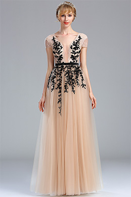 eDressit Beige Beaded Homecoming Long Lace Prom Dress (02173814)