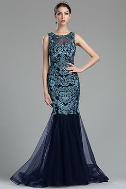 Sky Blue Floral Lace Appliques Designer Evening Dress (36175605)