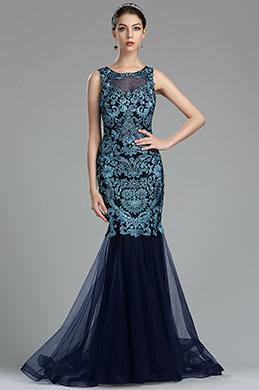 Sky Blue Floral Lace Appliques Designer Evening Dress (36175605)