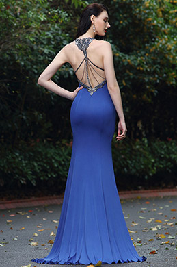 eDressit Elegant Blue Beaded Designer Backless Evening Dress (00171505)