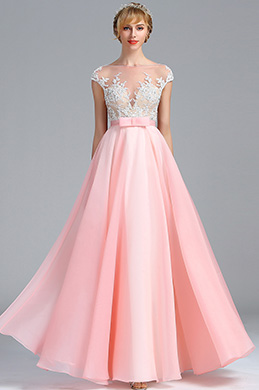 eDressit Cap Sleeves Pink Lace Appliques Evening Dress (00173701)
