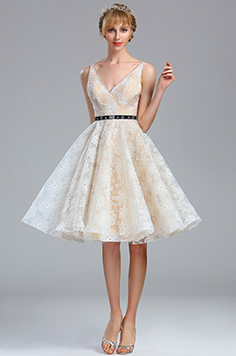 eDressit Ivory Plunging V Neck Lace Cocktail Party dress (04173813)