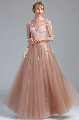 eDressit Elegant Blush Lace Appliques Princess Evening Dress (02174346)