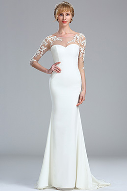 eDressit Long Sleeves White Lace Appliques Bridal Gown (01173107)