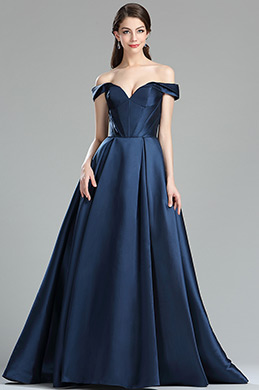 eDressit Dark Blue Off the Shoulder V Cut Puffy Prom Dress  (36174205)