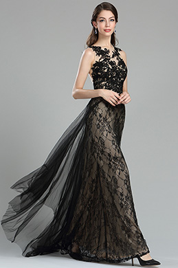 Glamorous Long Black Lace Soiree Dress without Sleeves (36175200)