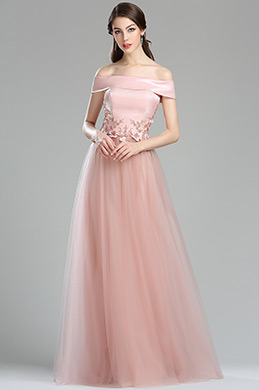 eDressit Pink Off the Shouler Floral Lace Appliques Prom Dress (00180101)