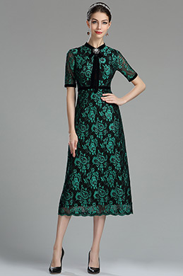 eDressit Black & Peacock Green Lace Mother of the Bride/ Groom Dress