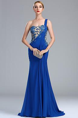 eDressit Glamourous One Shoulder Blue Lace Appliques Mermaid Dress (00173005)