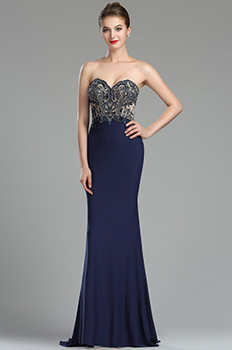 eDressit Sparkly Navy Blue Beaded Backless Evening Dress (36175105)