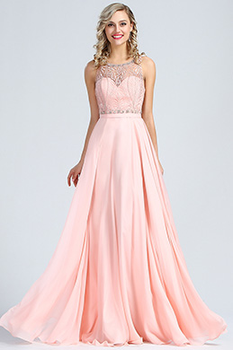 eDressit Sleeveless Pink Beaded Prom Evening Gown (36173901)