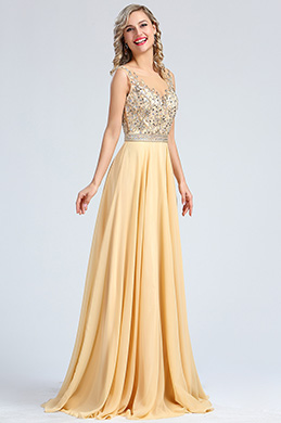 eDressit Sleeveless Beige Beaded Formal Evening Gown (36173014)
