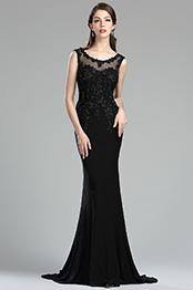 eDressit Black Backless Floral Lace Appliques Evening Dress