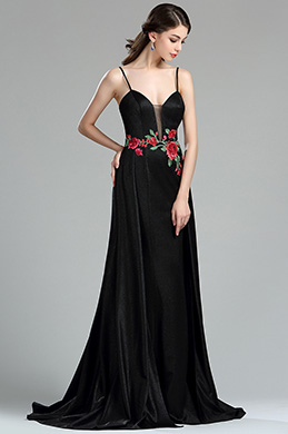 eDressit Sexy Floral Embroidery Long Black Evening Dress (36180200)