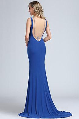eDressit Robe de Bal Longue Bleu en Mousseline de Soie  (00174405)