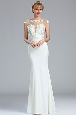 eDressit Cap Sleeves White Lace Appliques Wedding Dress (01173307)