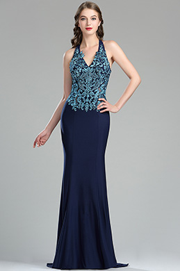 Halter Blue Lace Appliques Quinceanera Dressing Gown  (36175705)