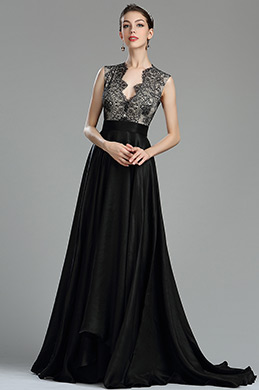Edressit Beautiful Black Long Lace Evening Dressing Gown 00180600