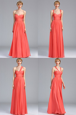 eDressit Strapless Coral Convertible Bridesmaid Dress (07170157)
