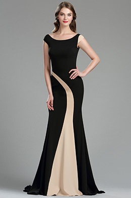 eDressit Elegant Black and Champagne Mermaid Occasion Dress (00180400)