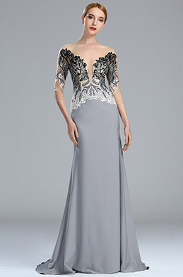 eDressit Grey Embroidey Beaded Mermaid Formal Dress with Sleeves (02173008)