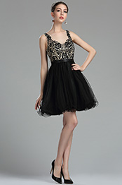eDressit Black Beaded Floral Cocktail and Party Dress