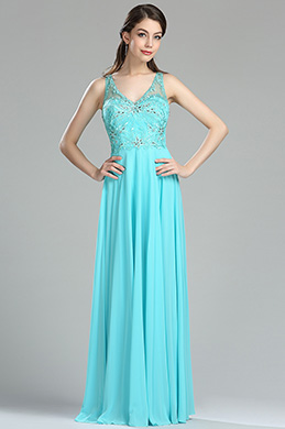 eDressit Light Blue Beaded Floral Embroidery Chiffon Dress (36175532)