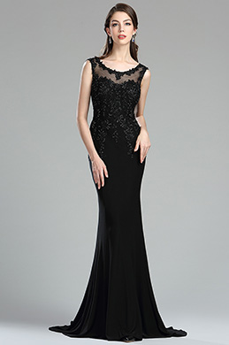 eDressit Black Backless Floral Lace Appliques Evening Dress (36174900)