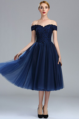 eDressit Off Shoulder Blue Lace Cocktail Party Dress (04173105)