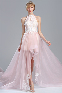 eDressit Light Pink Halter Lace Prom Mermaid Homecoming Dress (02174501)