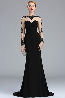eDressit Black Lace Appliques Beaded Mermaid Prom Dress (02173400)