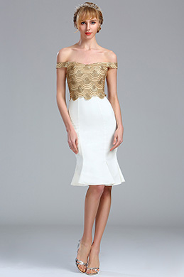 eDressit Gold and White Off the Shoulder Tight Lace Sequin Dress (04173607)