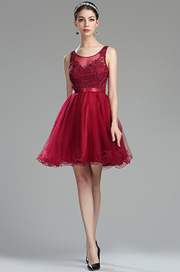 eDressit Sleeveless Red Beaded Casual Cocktail Petite Dress