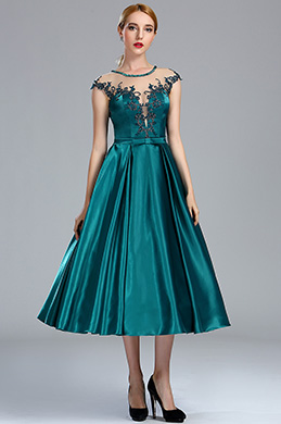 eDressit Cap Sleeves Peacock Blue Lace Appliques Cocktail Dress (04173305)