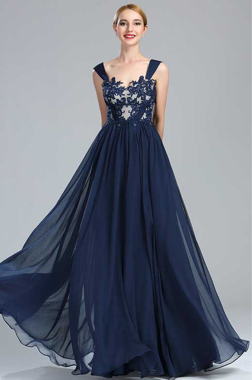 eDressit Navy Blue Lace Appliques Long Dress with Pleated Skirt (00173905)