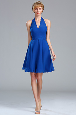 eDressit Halter Electric Blue Chiffon Velvet Short Dress (04173405)