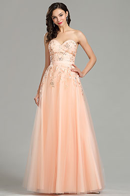 eDressit Peach Strapless Evening Dress Prom Gown (36181410)