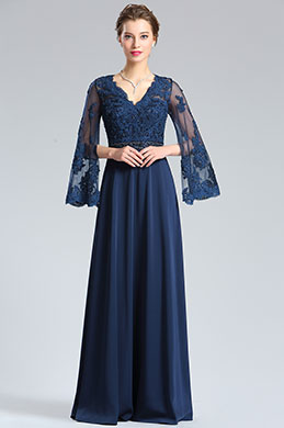 eDressit Half Sleeves Navy Blue Evening Dress Formal Gown (36182205)