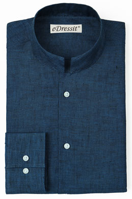 eDressit Custom 100% Linen Blue Mandarin Collar Shirt (29181358)