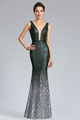 eDressit Elegant Deep V-Cut Green-silver Sequins Party Dress (02183004)