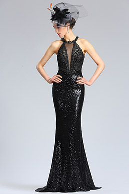 eDressit Halter Neck Black Sequins Prom Evening Dress (36182500)