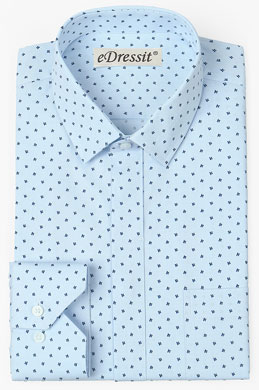 eDressit Custom Blue 100% Cotton Men Shirt (29180805)